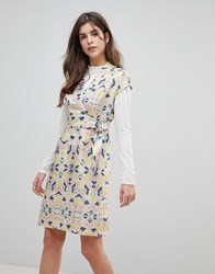 Liquorish Cap Sleeve Geoprint Dress With D Ring And Attached Belt Multicolor And Glitt