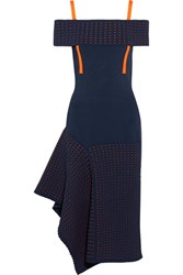 Jason Wu Off The Shoulder Asymmetric Stretch Knit And Jacquard Knit Dress Midnight Blue