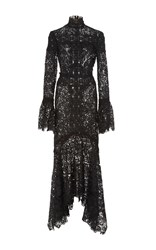 Costarellos Embroidered Cut Lace Asymmetrical Dress Black