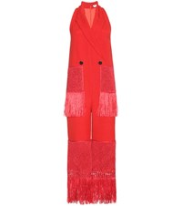 Edun Fringed Wool And Silk Blend Twill Jumpsuit Red