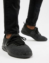 New Look Mixed Texture Trainers In Black