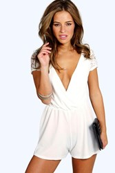 Boohoo Lily Lace Up Back Crochet Playsuit Ivory