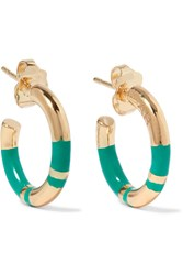 Aurelie Bidermann Positano Enameled Gold Plated Hoop Earrings One Size
