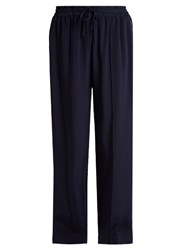 Serena Bute Wide Leg Crepe De Chine Drawstring Trousers Navy