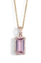 Women's Lafonn 'Aria' Pendant Necklace Rose Gold Amethyst