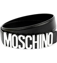 Moschino Logo Detail Leather Belt Black Silver