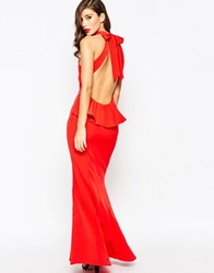 Jarlo High Neck Maxi Dress With Open Back And Frill Detail Red