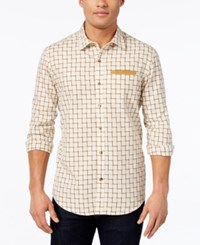 Sean John Ladder Dobby Check Shirt Sj Cream