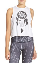 Women's Onzie Graphic Cotton Crop Tank White Dreamcatcher