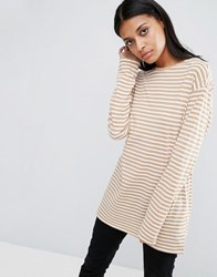 Asos Oversized Striped Long Sleeve T Shirt Sand Cream Multi