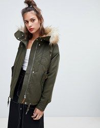 Pull And Bear Pullandbear Waist Length Fur Hood Parka In Khaki Green