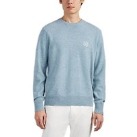 Rag And Bone Victor Embroidered Wool Sweater Blue