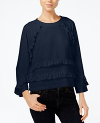 Armani Exchange Ruffled Sweatshirt Blue