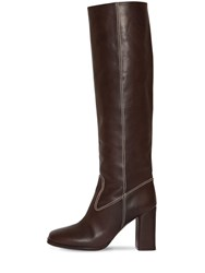 Maryam Nassir Zadeh 85Mm Roma Tall Leather Boots Brown