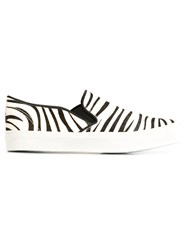 Junya Watanabe Comme Des Gara Ons Zebra Print Slip On Sneakers Black