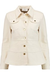 Fluted Cotton Canvas Jacket Ivory