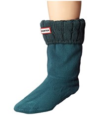 Hunter 6 Stitch Cable Boot Sock Short Ocean Women's Crew Cut Socks Shoes Blue