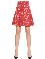 Dolce And Gabbana Polka Dot Printed Stretch Viscose Cady Red White