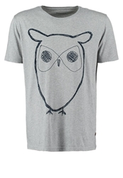 Knowledge Cotton Apparel Print Tshirt Grey Melange Mottled Grey