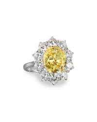 Fantasia Oval Canary And Clear Cz Crystal Flower Ring