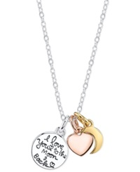 Macy's Inspirational I Love You To The Moon And Back Charm Pendant Necklace In 14K Gold And Sterling Silver