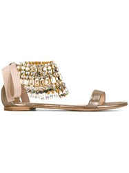 Casadei Beaded Ankle Strap Sandals Metallic