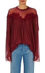 Chloe Women's Embroidered Peasant Blouse Burgundy