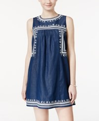 As U Wish Juniors' Embroidered Chambray Shift Dress