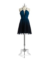 Hailey Logan Cut Out Fit And Flare Dress Blue Ombre