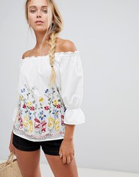 Qed London Off Shoulder Embroidered Top White