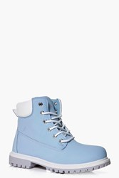 Boohoo Lace Up Hiker Boot Blue