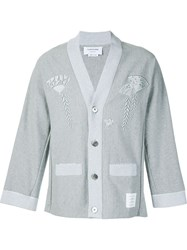 Thom Browne Embroidered Kimono Cardigan Grey
