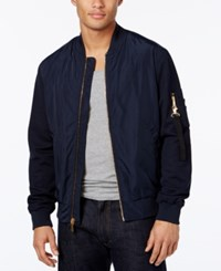 Sean John Men's Pique Sleeve Bomber Jacket Dark Blue