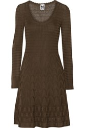 M Missoni Crochet Knit Wool Blend Dress Brown