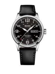 Hugo Boss Pilot Stainless Steel And Leather Strap Watch Black