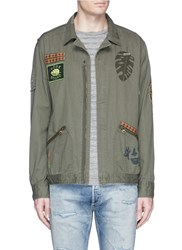 Scotch And Soda 'Worked Out' Army Badge Shirt Jacket Green
