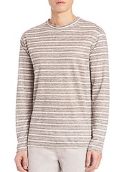 Saks Fifth Avenue Long Sleeve Stripe Linen T Shirt Brown