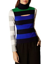 Karen Millen Color Block Striped Turtleneck Sweater Multi