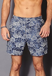 Forever 21 Botanical Print Swim Trunks Blue White