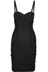 Balmain Ruched Stretch Knit Mini Dress Black