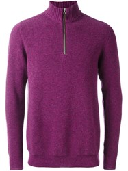 N.Peal Ribbed Zipped Pullover Pink And Purple