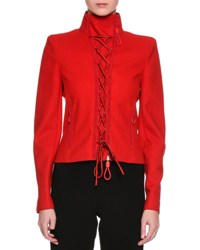 Giorgio Armani Lace Up Wool Cloth Jacket Red