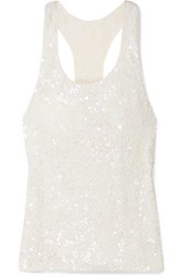 Ashish Sequined Georgette Tank White