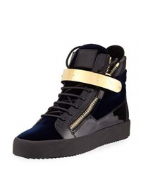 Giuseppe Zanotti Men's Velvet High Top Sneaker With Golden Bar Navy