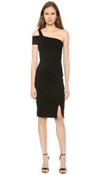 Nicholas Ponte Wrap Backless Dress Black