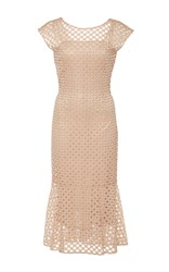 Luisa Beccaria Sleeveless Shift Dress Nude