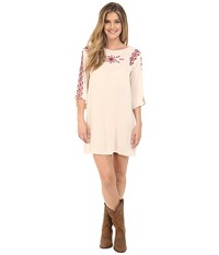 Rock And Roll Cowgirl Long Sleeve Dress D4 6727 Natural Women's Dress Beige