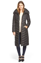 Women's Marc New York 'Karen' Chevron Quilted Long Down And Feather Fill Coat Black