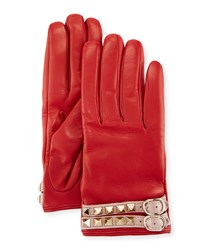 Valentino Leather Rockstud Gloves Red