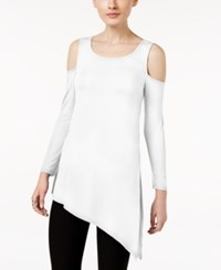 Cable And Gauge Asymmetrical Cold Shoulder Top Bright White